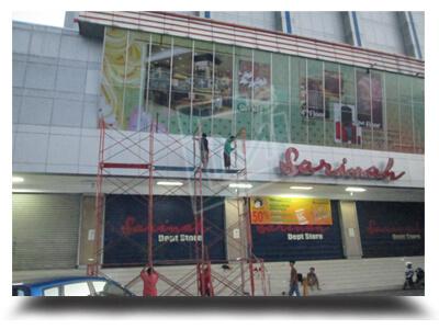 building wrap sticker kaca gedung mall sarinah 3